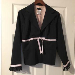 B Smart black blazer with pink trim Size 11/12